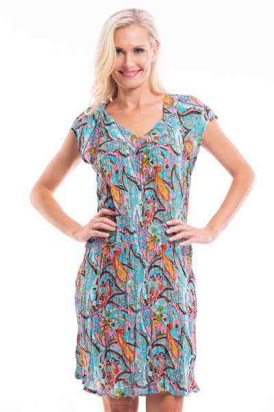 Aqua Paisley Crinkle Tunic Dress