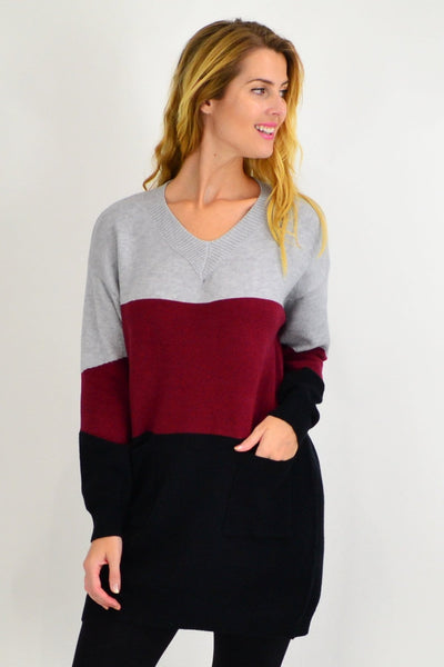 Burgundy V neck Woolly Winter Tunic Jumper