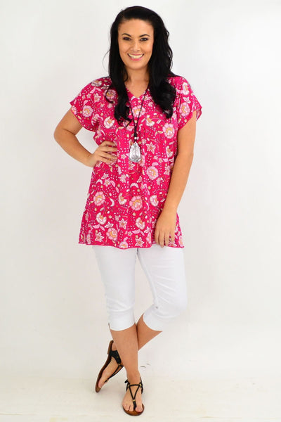 Burgundy Floral Flutter Sleeve Tunic Top