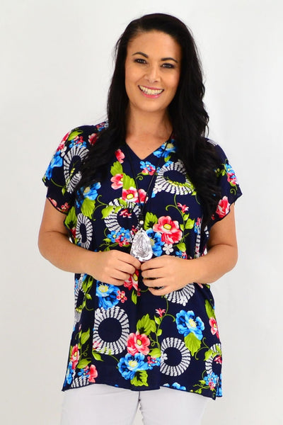 Navy Floral Flutter Sleeve Tunic Top
