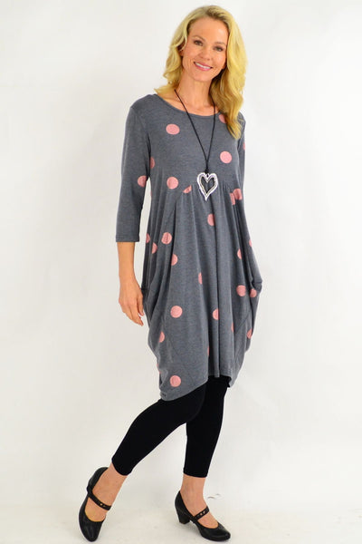 Silver Grey Spot Cocoon Tunic Dress