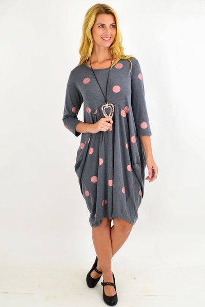 Silver Grey Spot Cocoon Tunic Dress | I Love Tunics | Tunic Tops | Tunic | Tunic Dresses  | womens clothing online