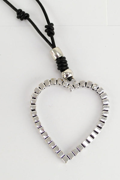 Cube Silver Heart Necklace