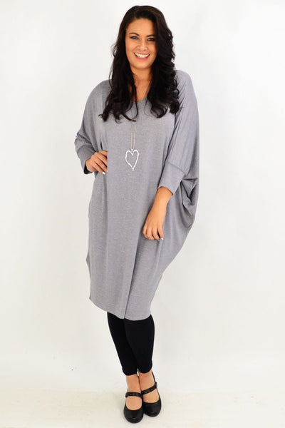 Silver Grey Oversized Tunic Dress