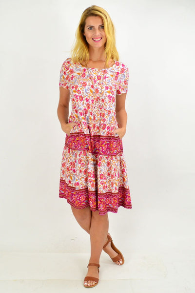 Pink Stripe Floral Ruffle Tunic Dress