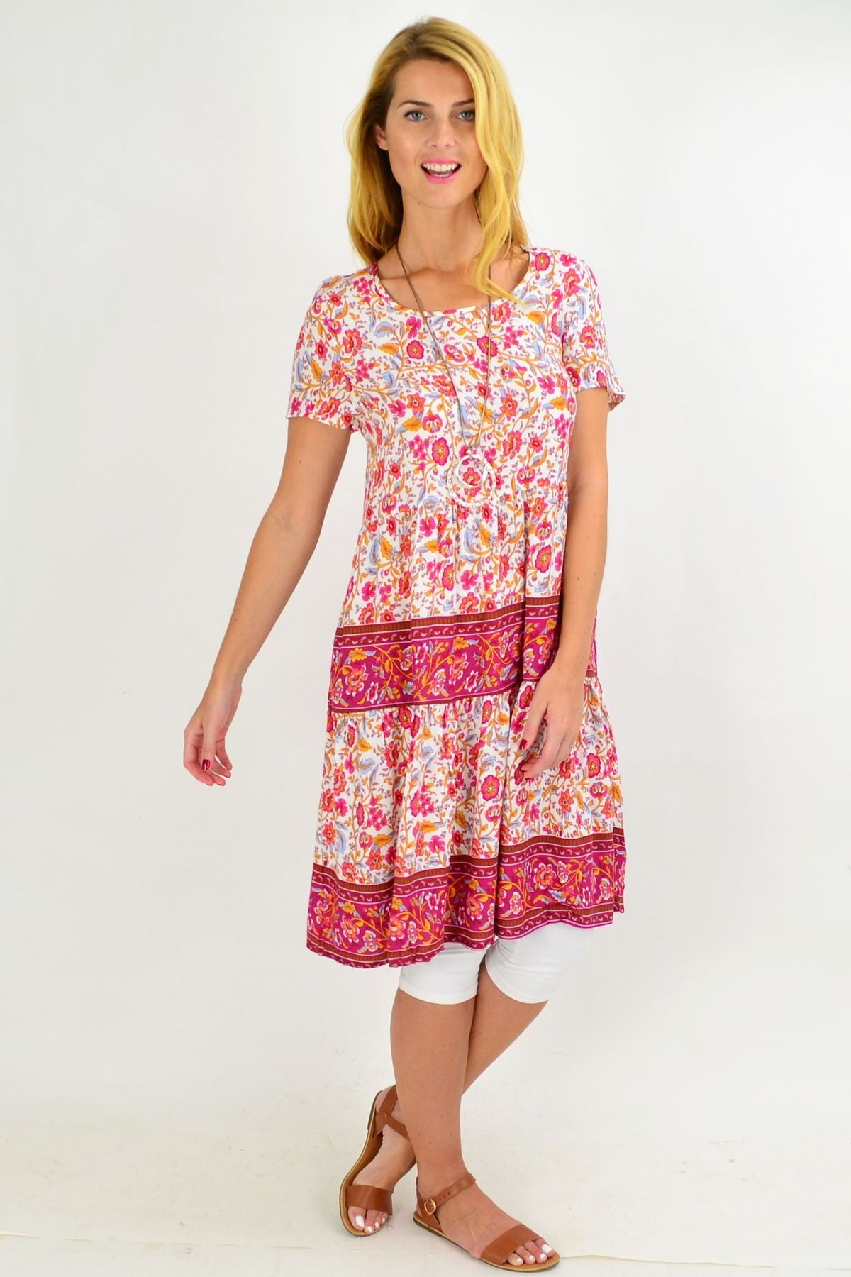 Pink Stripe Floral Ruffle Tunic Dress | I Love Tunics | Tunic Tops | Tunic | Tunic Dresses  | womens clothing online