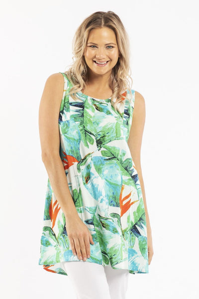 Birds of Paradise Sleeveless Tunic Top | I Love Tunics | Tunic Tops | Tunic Dresses | Women's Tops | Plus Size Australia | Mature Fashion