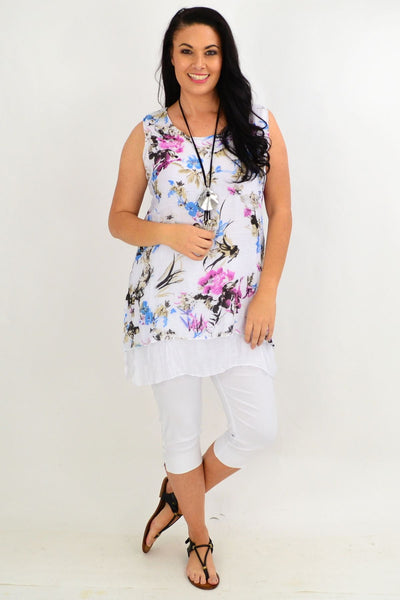 Blue Pink Floral Overlay Tunic Top