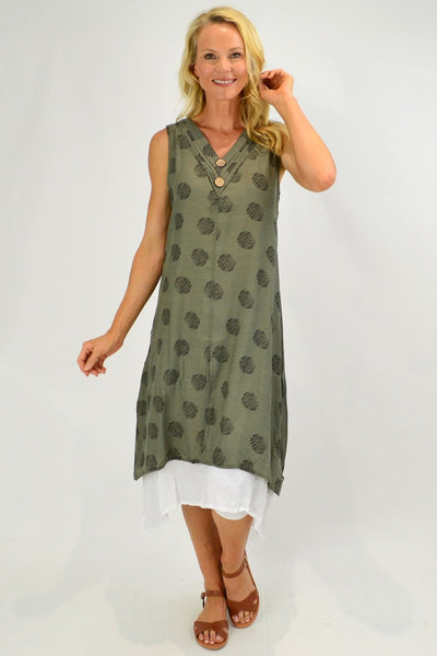 Sleeveless Khaki Dots Overlay Tunic Dress