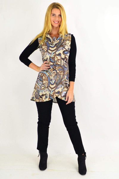 Paisley Fold Over Front Tunic Top