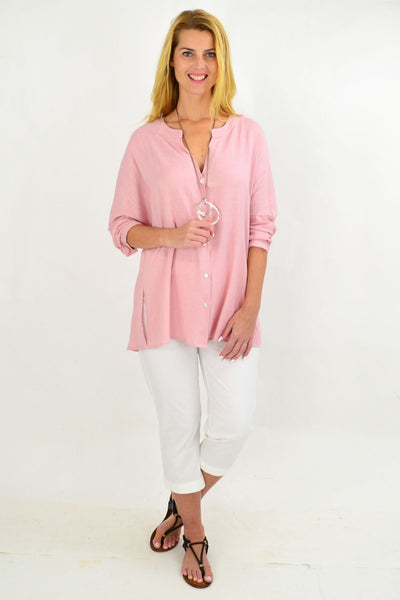 Soft Pink V Neck Linen Shirt | I Love Tunics | Tunic Tops | Tunic | Tunic Dresses  | womens clothing online