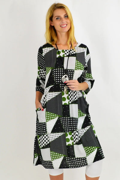 Green Spotty Tunic Dress