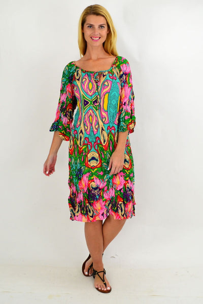 Aqua Floral Crinkle Tie Tunic Dress