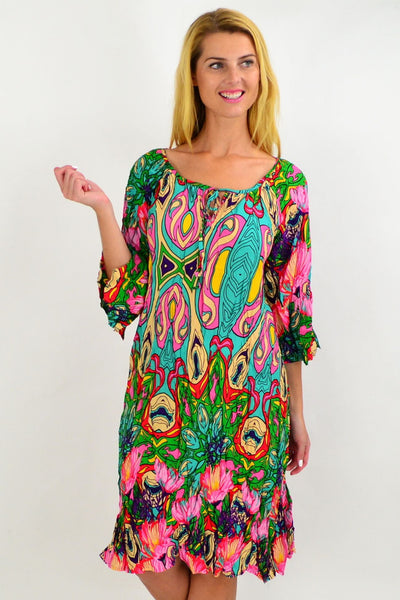 Aqua Floral Crinkle Tie Tunic Dress | I Love Tunics | Tunic Tops | Tunic | Tunic Dresses  | womens clothing online