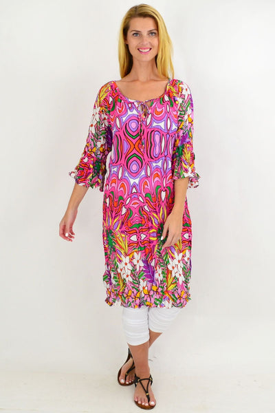 Pink Floral Crinkle Tie Tunic Dress
