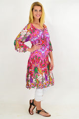 Pink Floral Crinkle Tie Tunic Dress | I Love Tunics | Tunic Tops | Tunic | Tunic Dresses  | womens clothing online