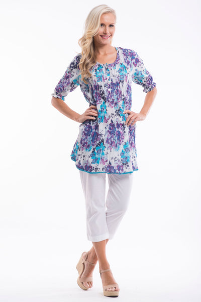 Blue Purple Flower Tunic Top
