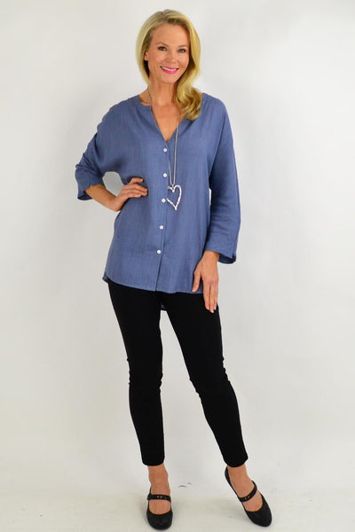 Steel Grey V Neck Linen Shirt