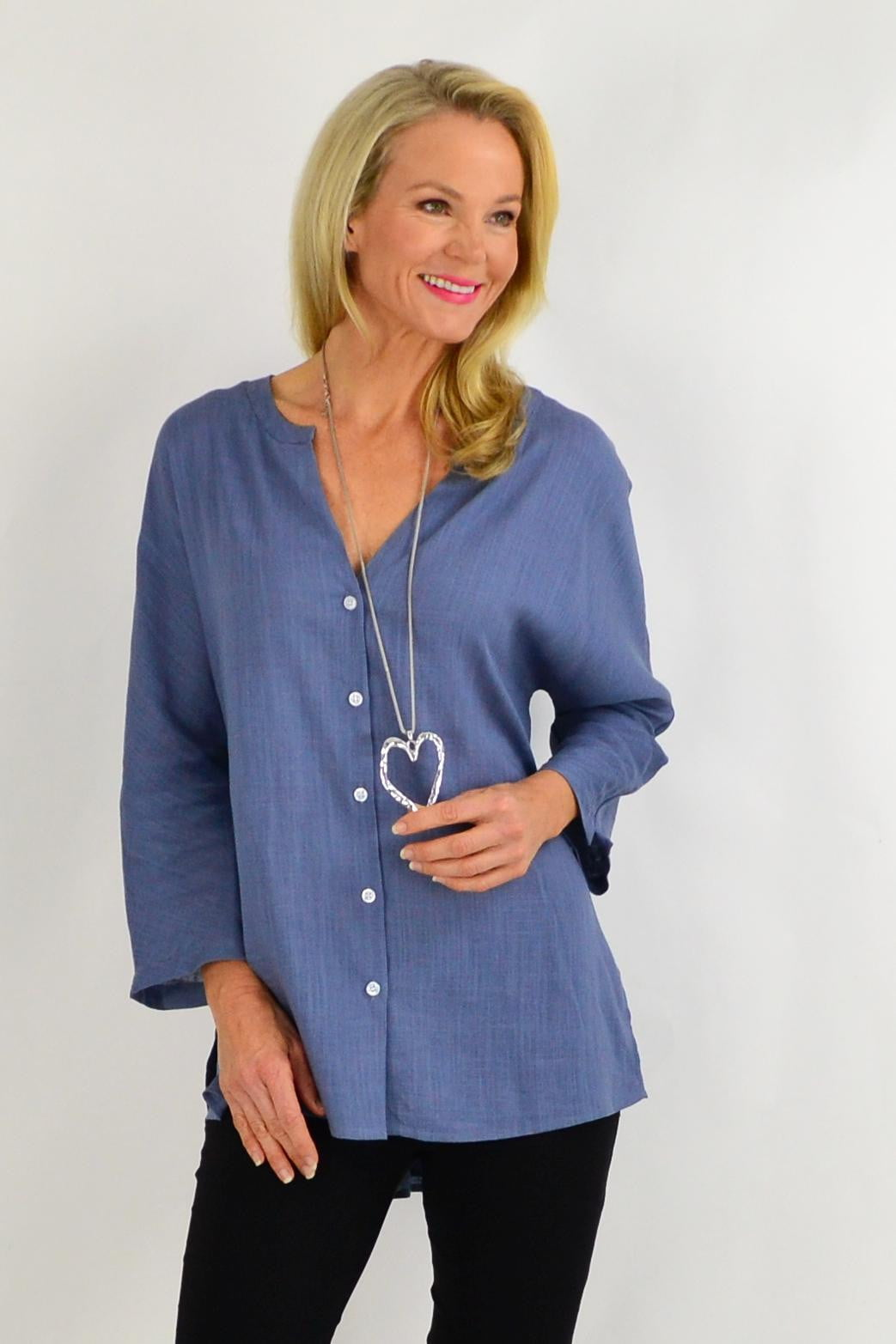 Steel Grey V Neck Linen Shirt | I Love Tunics | Tunic Tops | Tunic | Tunic Dresses  | womens clothing online
