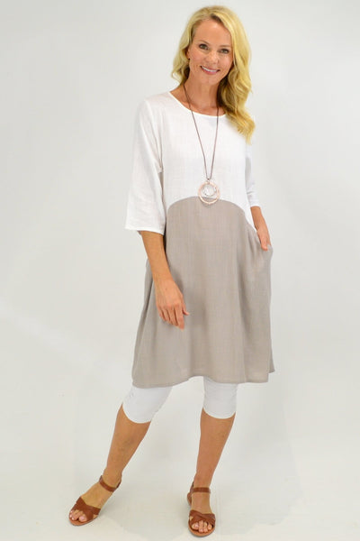 Cream Taupe Linen Tunic Dress with Pockets - I Love Tunics
