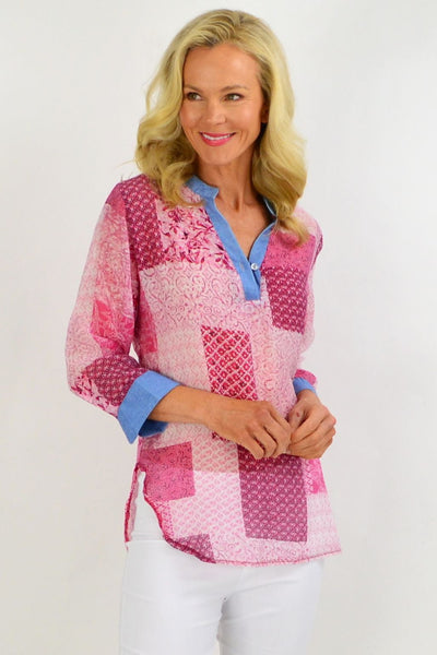 Pink Square Tunic Shirt | I Love Tunics | Tunic Tops | Tunic | Tunic Dresses  | womens clothing online