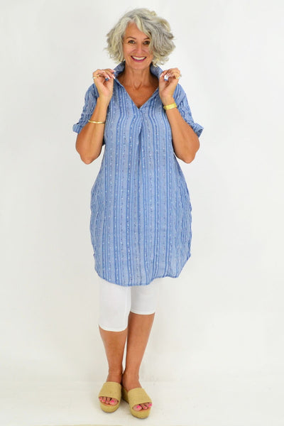 Blue Hannah Tunic Shirt
