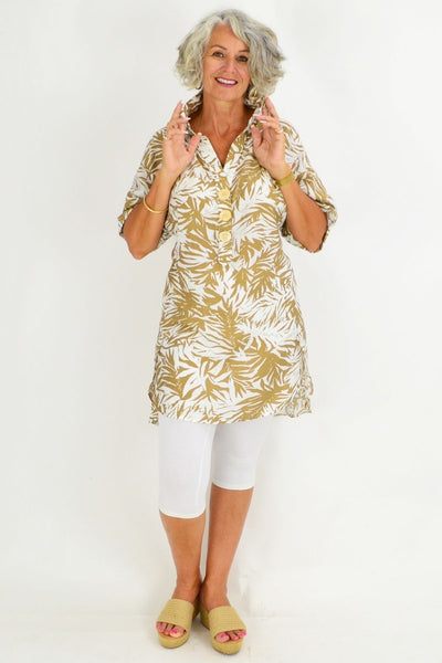 Beige White Palm Tunic Shirt