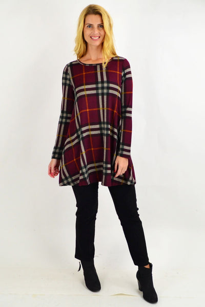 Burgundy Tartan Tunic Top by Caroline Morgan