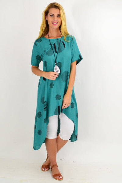 Teal Pattern Linen Hi Low Hem Tunic