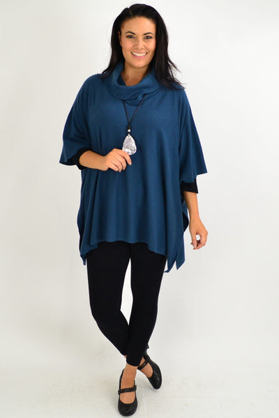 Teal Oversized Knit Tunic Jumper
