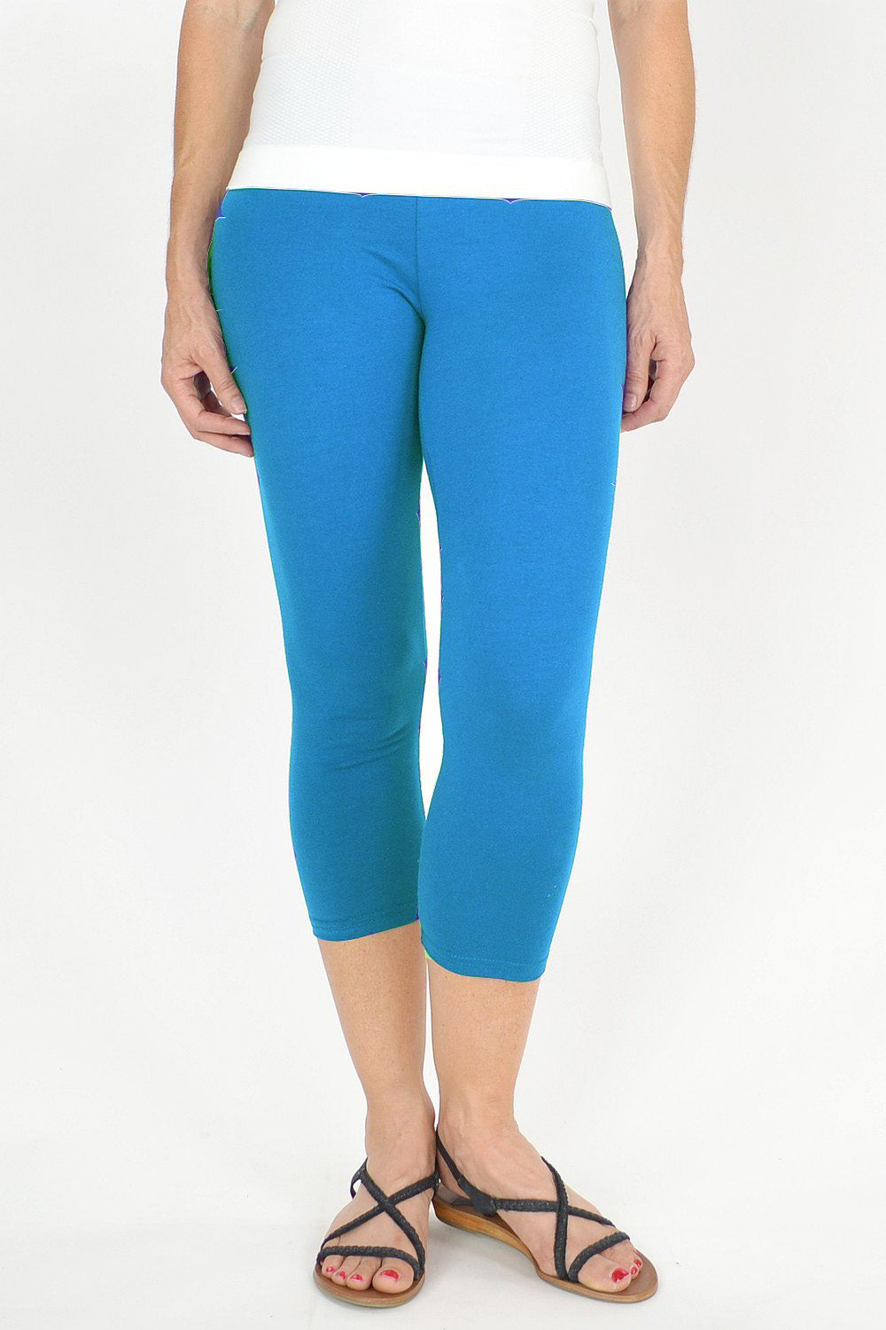 Light Blue Cotton 3/4 Leggings - at I Love Tunics @ www.ilovetunics.com = Number One! Tunics Destination
