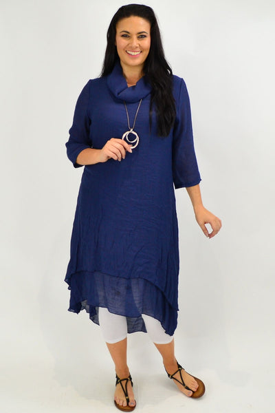 Navy Cowl Neck Tunic Dress | I Love Tunics | Tunic Tops | Tunic | Tunic Dresses  | womens clothing online