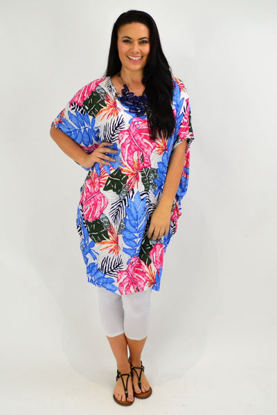 Blue Tropical Leaf Relaxed Tunic Dress
