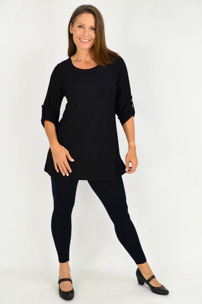 Black Full Sleeve Basic Tunic Top