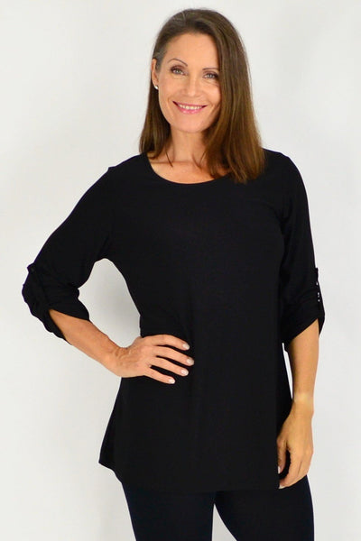 Black Full Sleeve Basic Tunic Top | I Love Tunics | Tunic Tops | Tunic Dresses | Women's Tops | Plus Size Australia | Mature Fashion