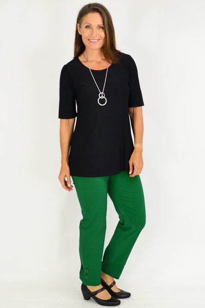 Black Short Sleeve Basic Top