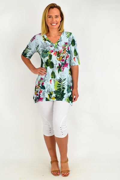 Aqua Green Tropical Tunic Top