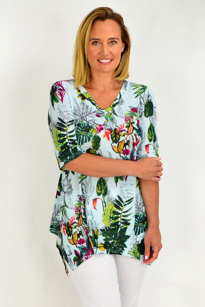 Aqua Green Tropical Tunic Top | I Love Tunics | Tunic Tops | Tunic Dresses | Women's Tops | Plus Size Australia | Mature Fashion