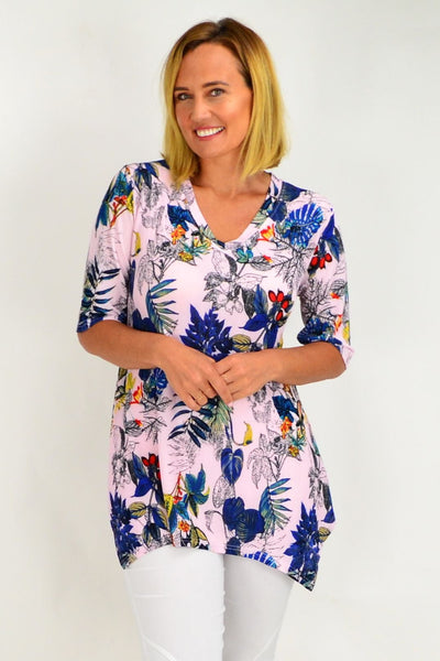 Pink Tropical Tunic Top
