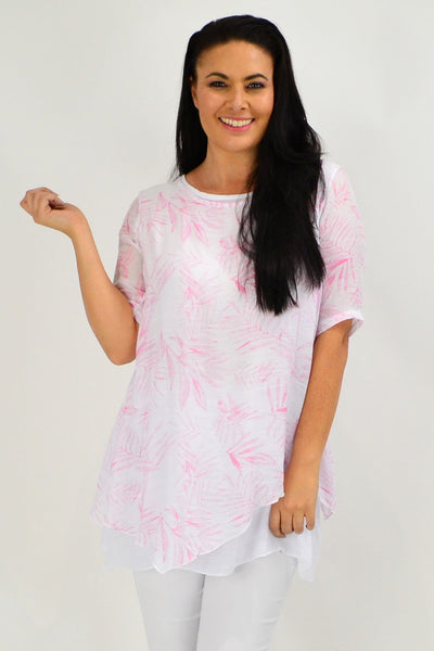 Pink Leaf Tunic Top - I Love Tunics