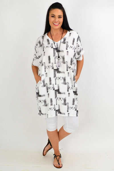 Black White Abstract Cocoon Tunic Top