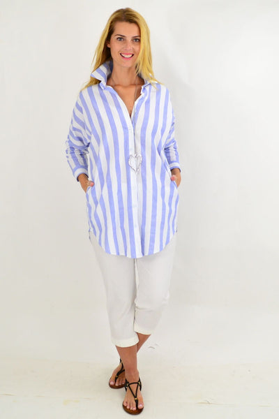 Pale Blue & White Striped Cotton Shirt