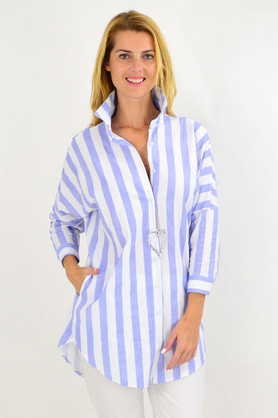 Pale Blue & White Striped Cotton Shirt | I Love Tunics | Tunic Tops | Tunic | Tunic Dresses  | womens clothing online