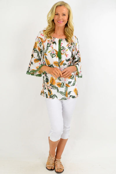 White Tropical Tassel Off shoulder Tunic Top