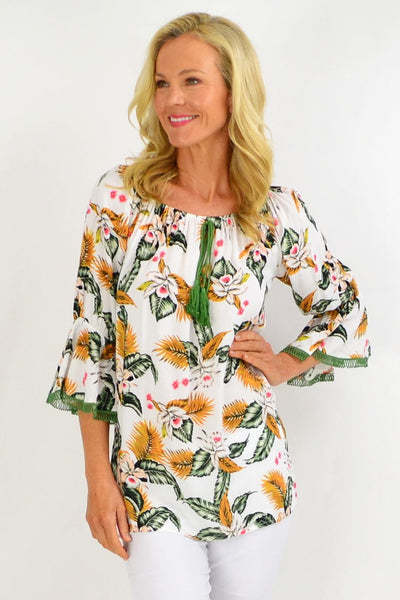 White Tropical Tassel Off shoulder Tunic Top | I Love Tunics | Tunic Tops | Tunic | Tunic Dresses  | womens clothing online