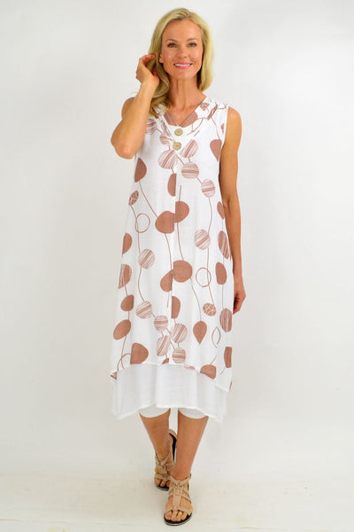 Brown Spot Overlay Summer Tunic Dress