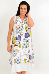 Yellow Flower Overlay Summer Tunic Dress