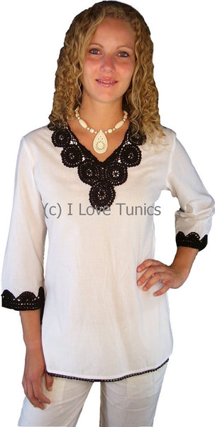 White Cotton Crochet Tunic