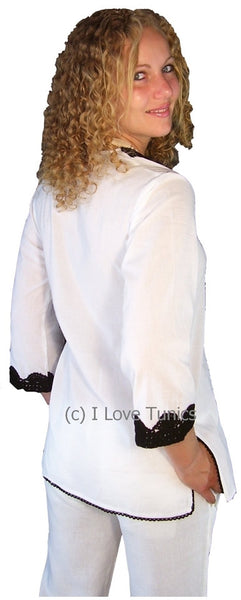 White Cotton Crochet Tunic - at I Love Tunics @ www.ilovetunics.com = Number One! Tunics Destination