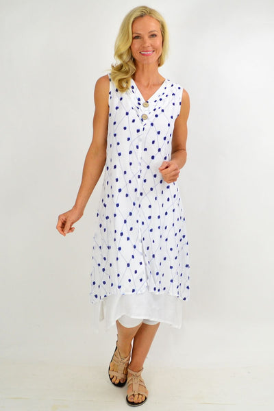 Blue Spot Overlay Summer Tunic Dress